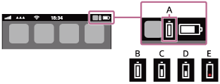Illustration of the icons indicating the remaining battery charge
